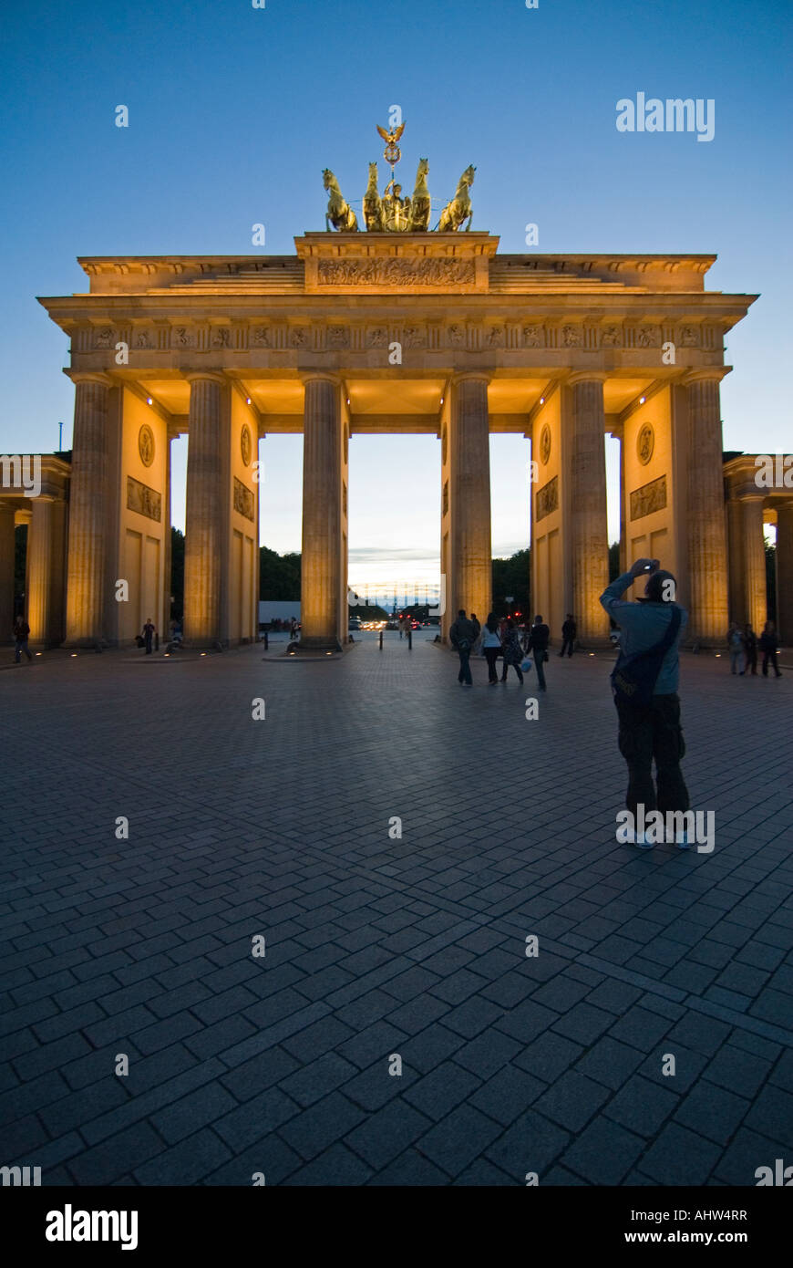 Stock Photo - Vertical wide angle of the Brandenburg Gate on Pariser Platz  illuminated at night