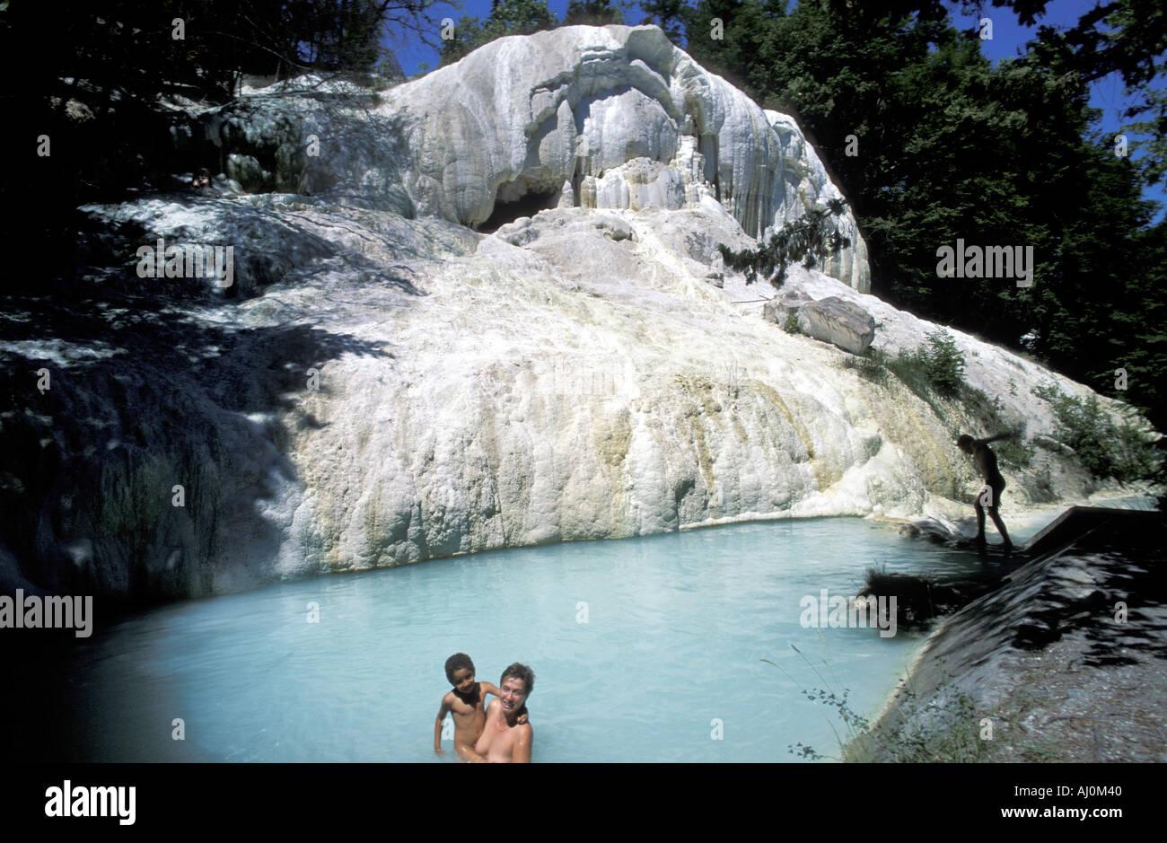 Bathers at thermal waters Fosso Bianco Bagni San Filippo Tuscany ...