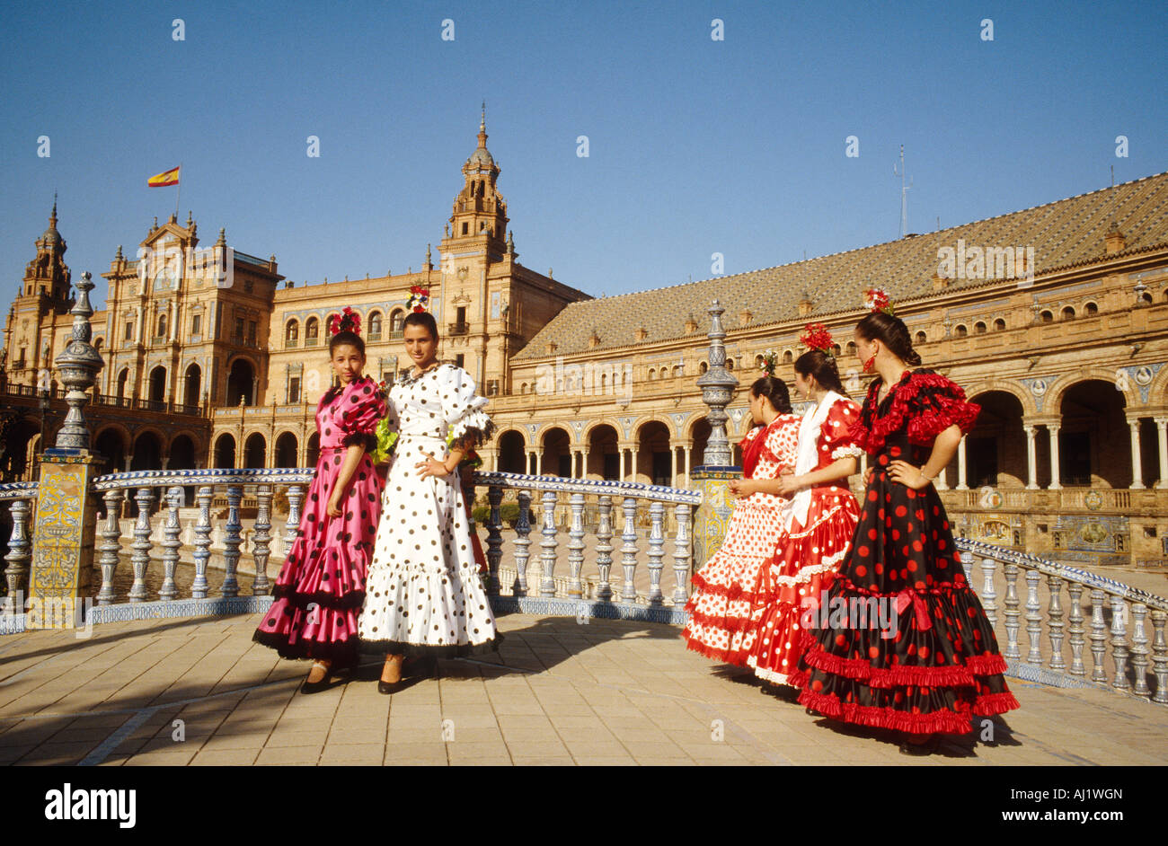 Flamenco girls plaza espana seville stock photo royalty for Espectaculo flamenco seville sevilla