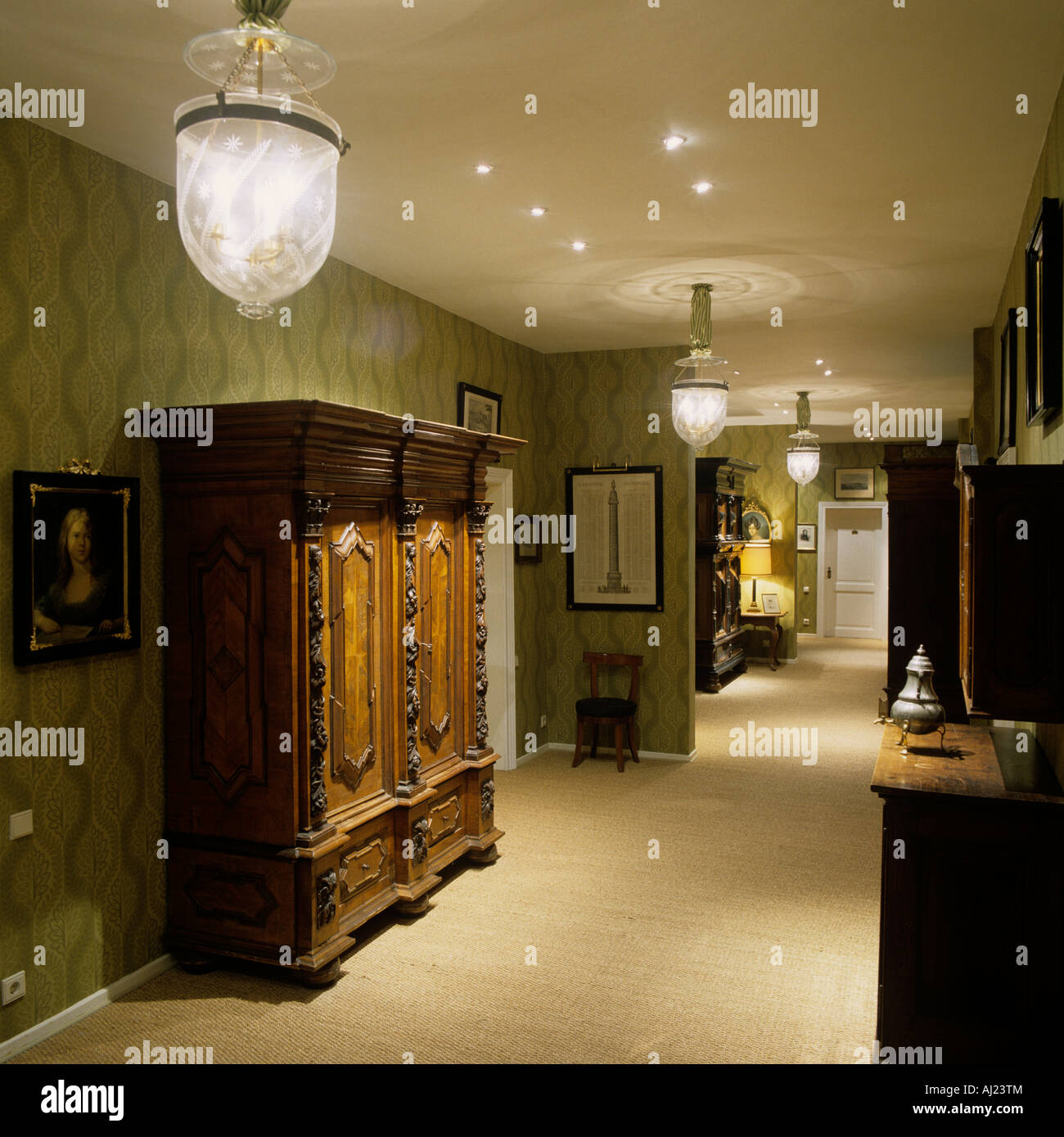 Corridor  hallway with antique wardrobe and old fashioned ceiling