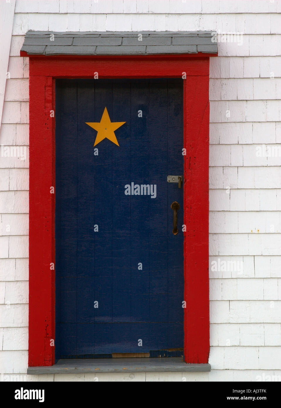 Acadian Colours On A Door In New Brunswick Stock Photo