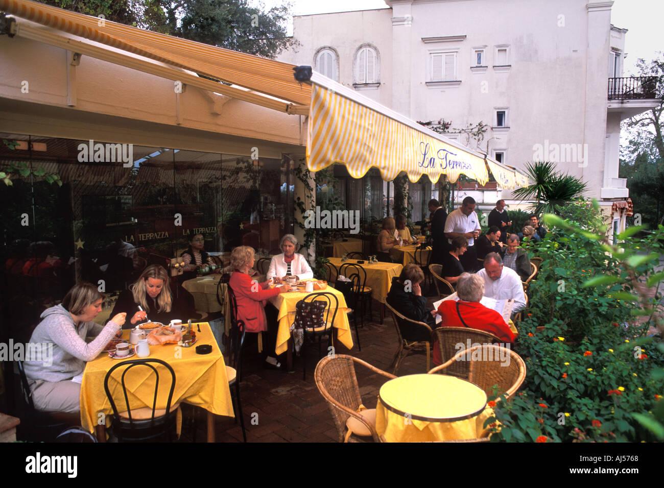 Famous Isle of Capri in Italy and the La Terrazza Restaurant Stock ...
