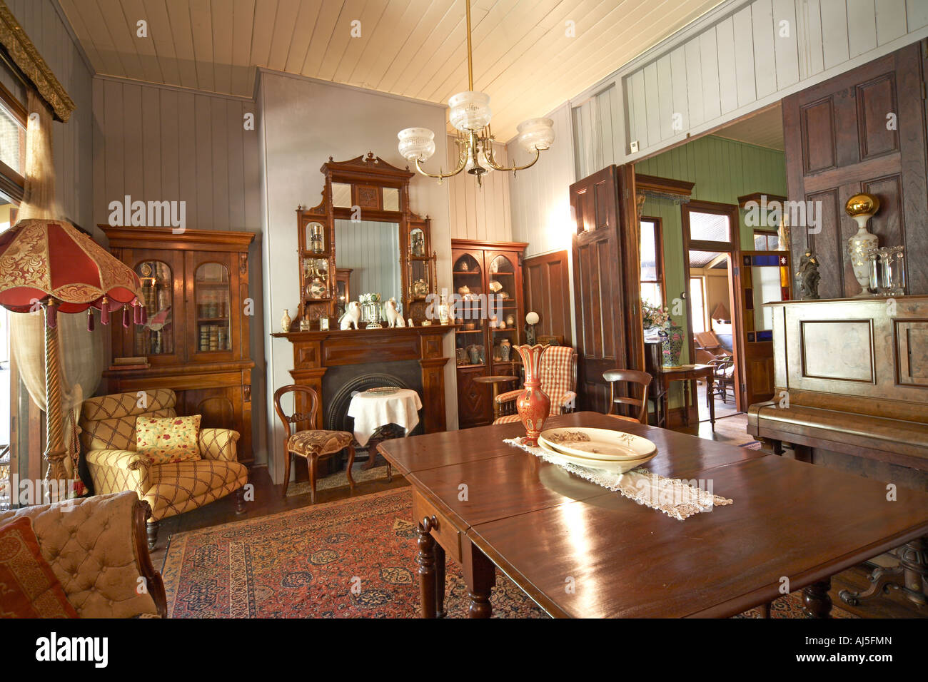 Dining Room Interior Of Old Colonial Style Queenslander Wooden House Building With Gardens In Dakabin Queensland QLD Australia