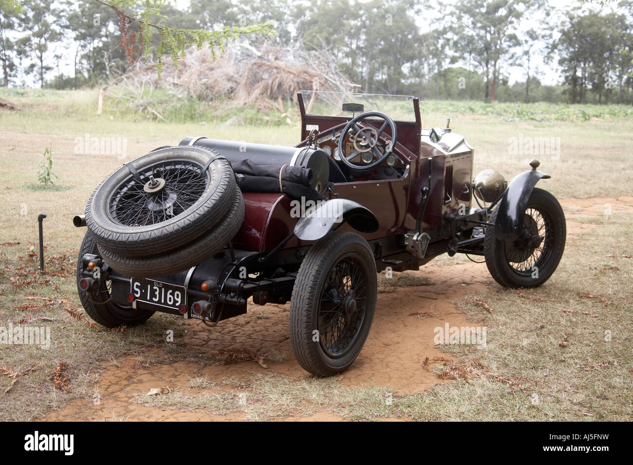 Old Vintage Vauxhall Motor Car On Dirt Track Outdoors In