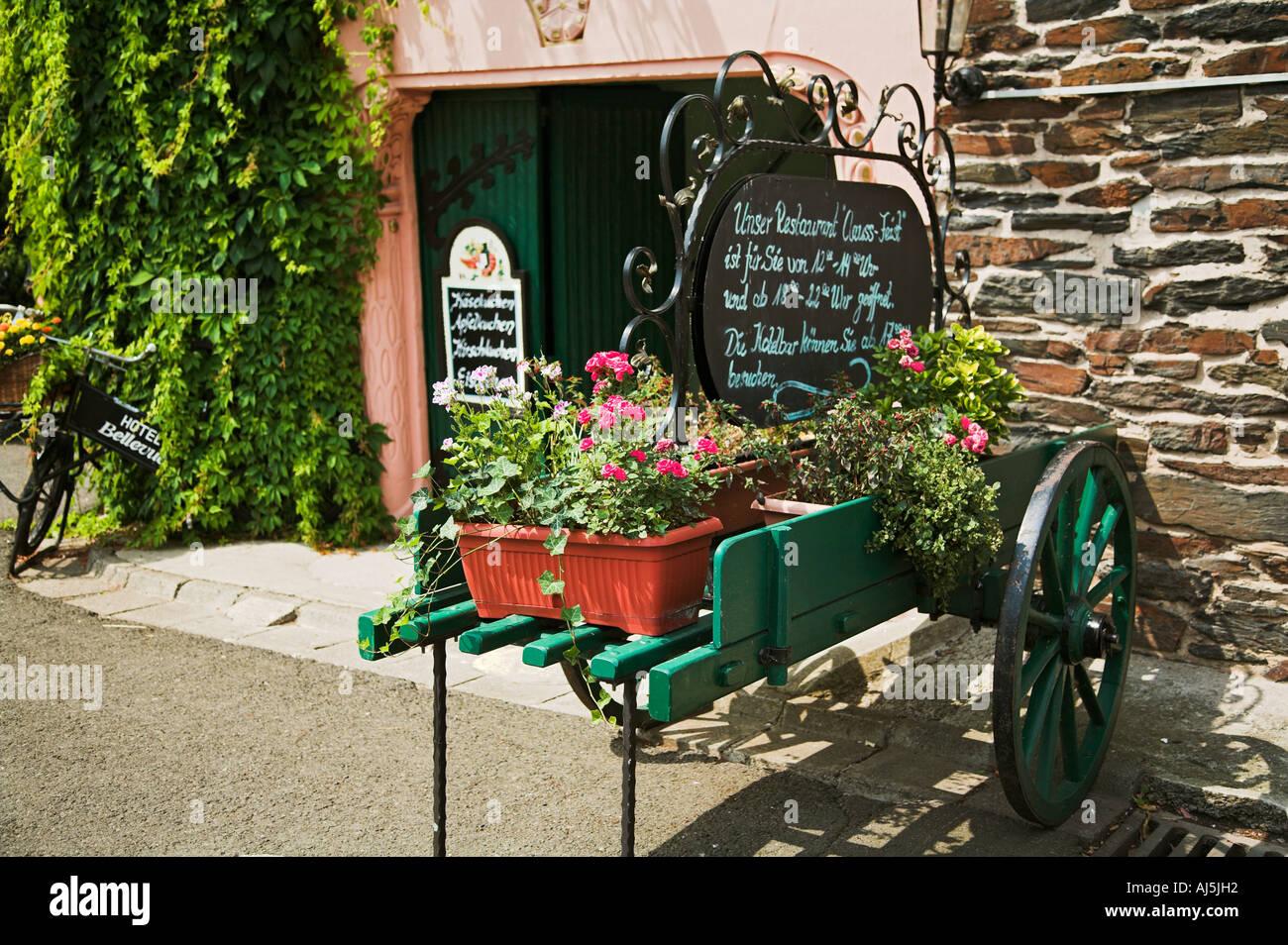 Decorative cart outside a hotel restaurant Traben Trarbach Mosel ...