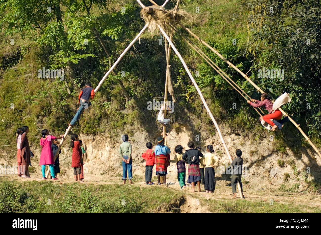 Children playing at a high swing made of bamboo sticks