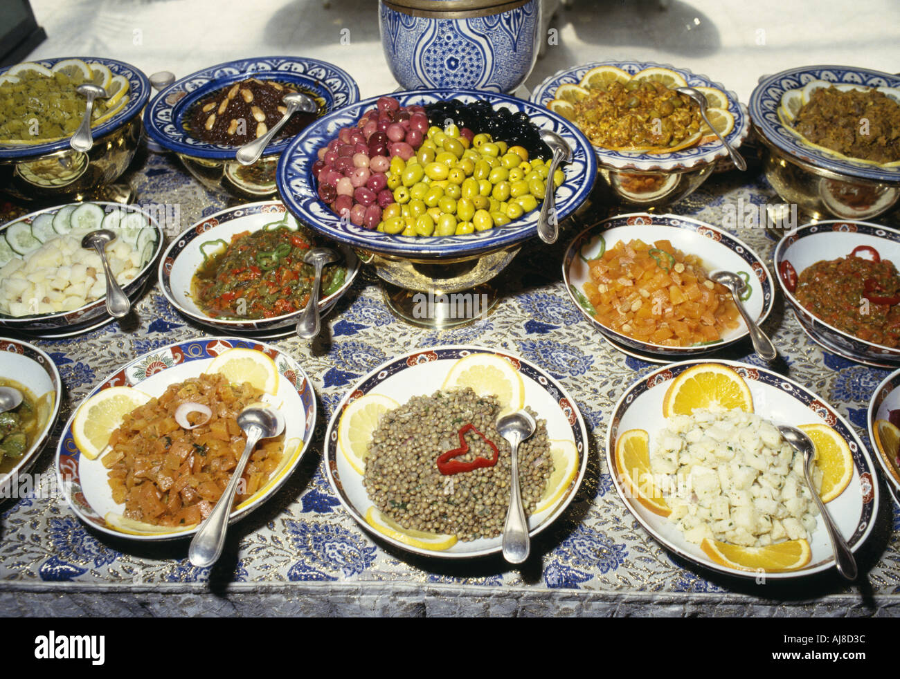 Detail Of The Buffet Display Of Various Traditional Moroccan Salads Set On  A Decorated Table In