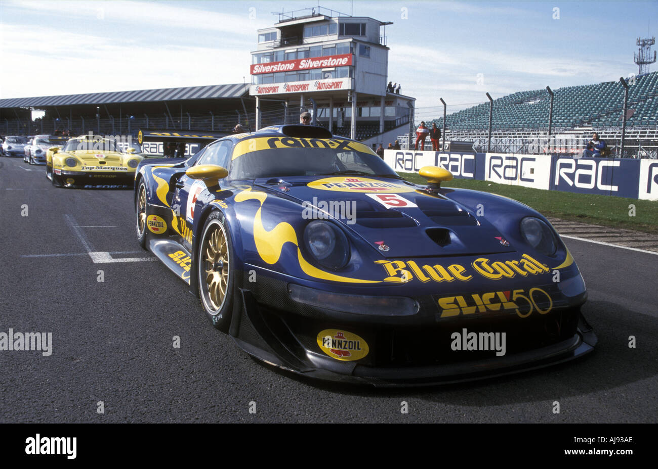 porsche 911 gt1 blue coral fia gt silverstone stock photo royalty free image 1217453 alamy. Black Bedroom Furniture Sets. Home Design Ideas