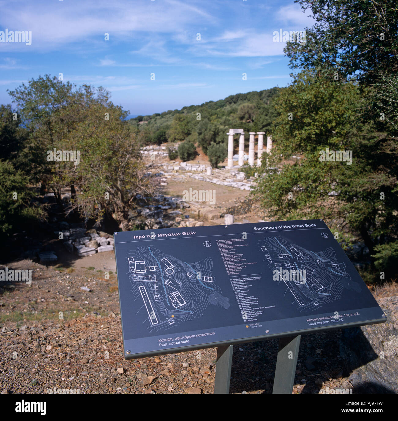 Tourist Map At The Site Of The Great Gods Samothraki Greek Islands