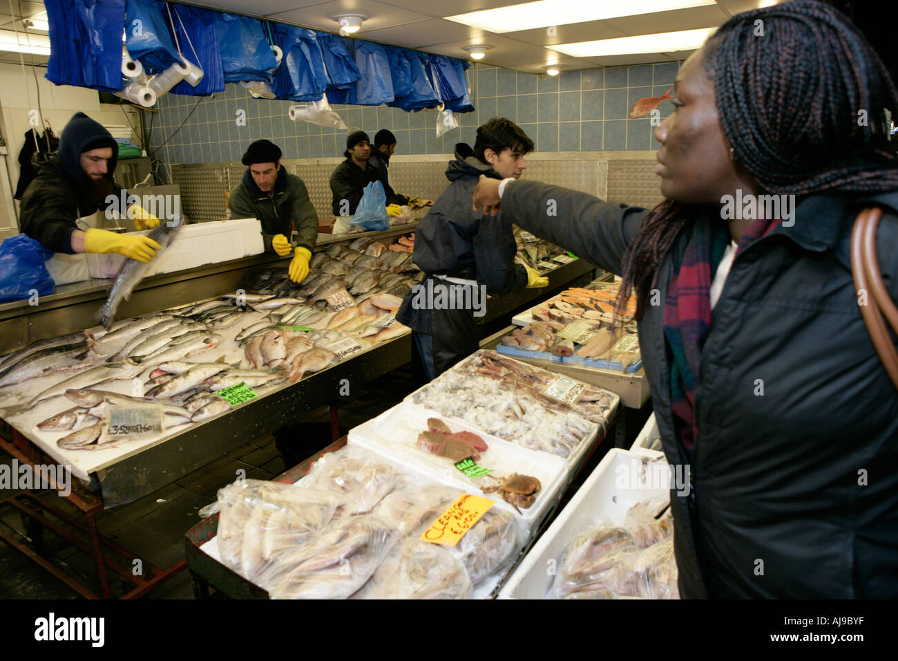 Fish shop in queens market upton park east london the for Fish market queens