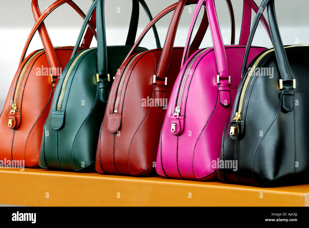 Leather handbags on display in a shop in Milan Stock Photo ...