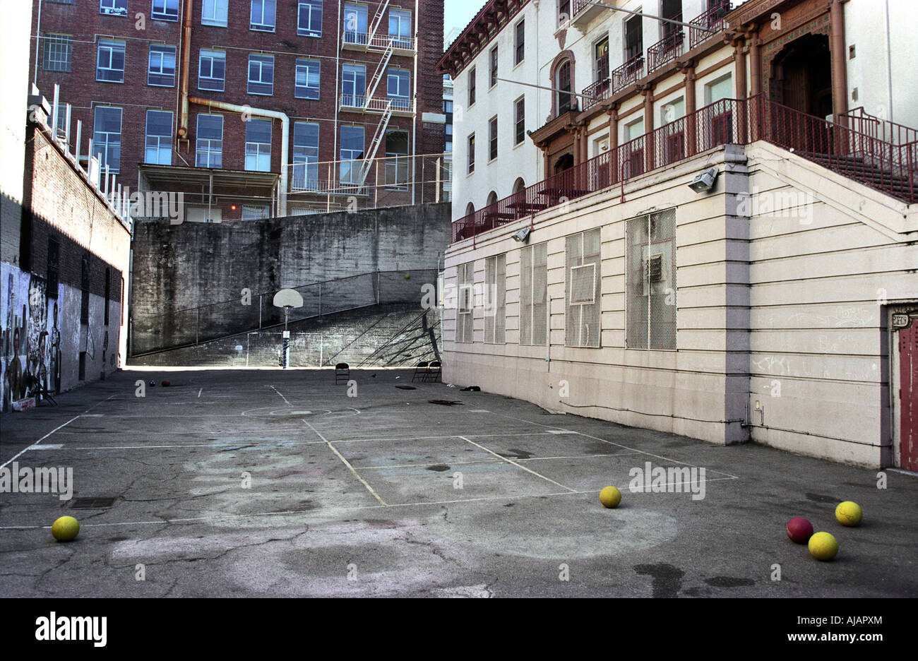 a vacant outdoor basketball court in chinatown san francisco stock