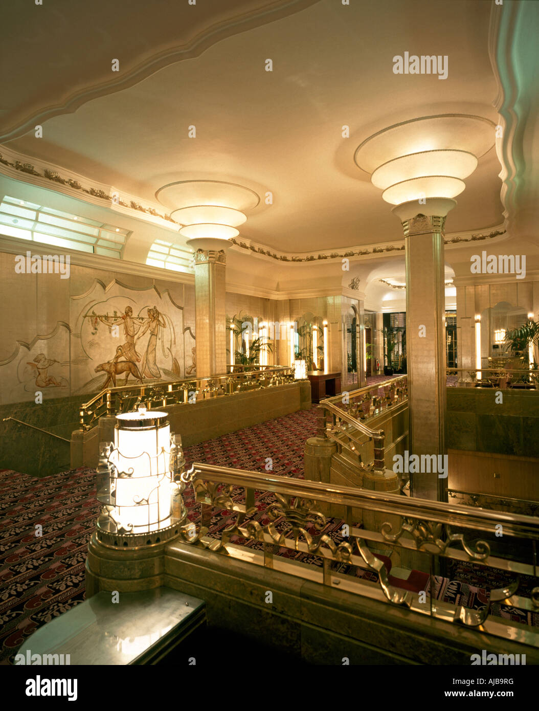 foyer interior in art deco style of hyde park hotel london w1