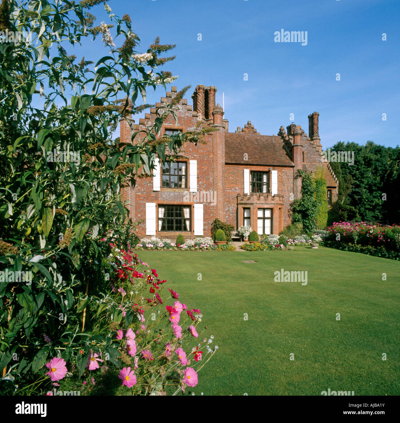 Landscaped English Country Gardens And Lawn Of Chenies