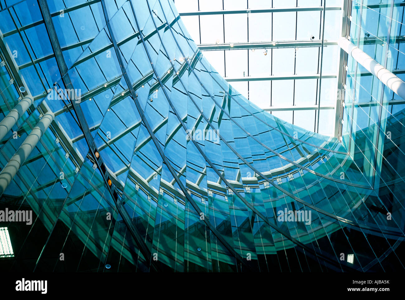 View Up Atrium Interior With Glass Reflections At 25