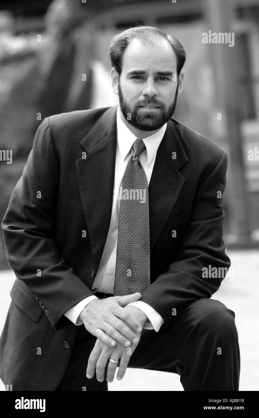 Tremendous Black And White Outdoor Portrait Of Business Man With Beard In Short Hairstyles Gunalazisus