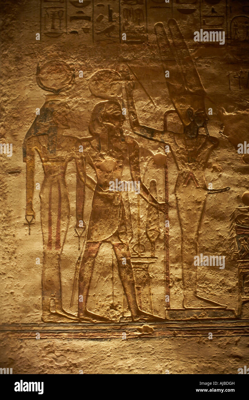 Wall relief carving of mut amun min god fetility and