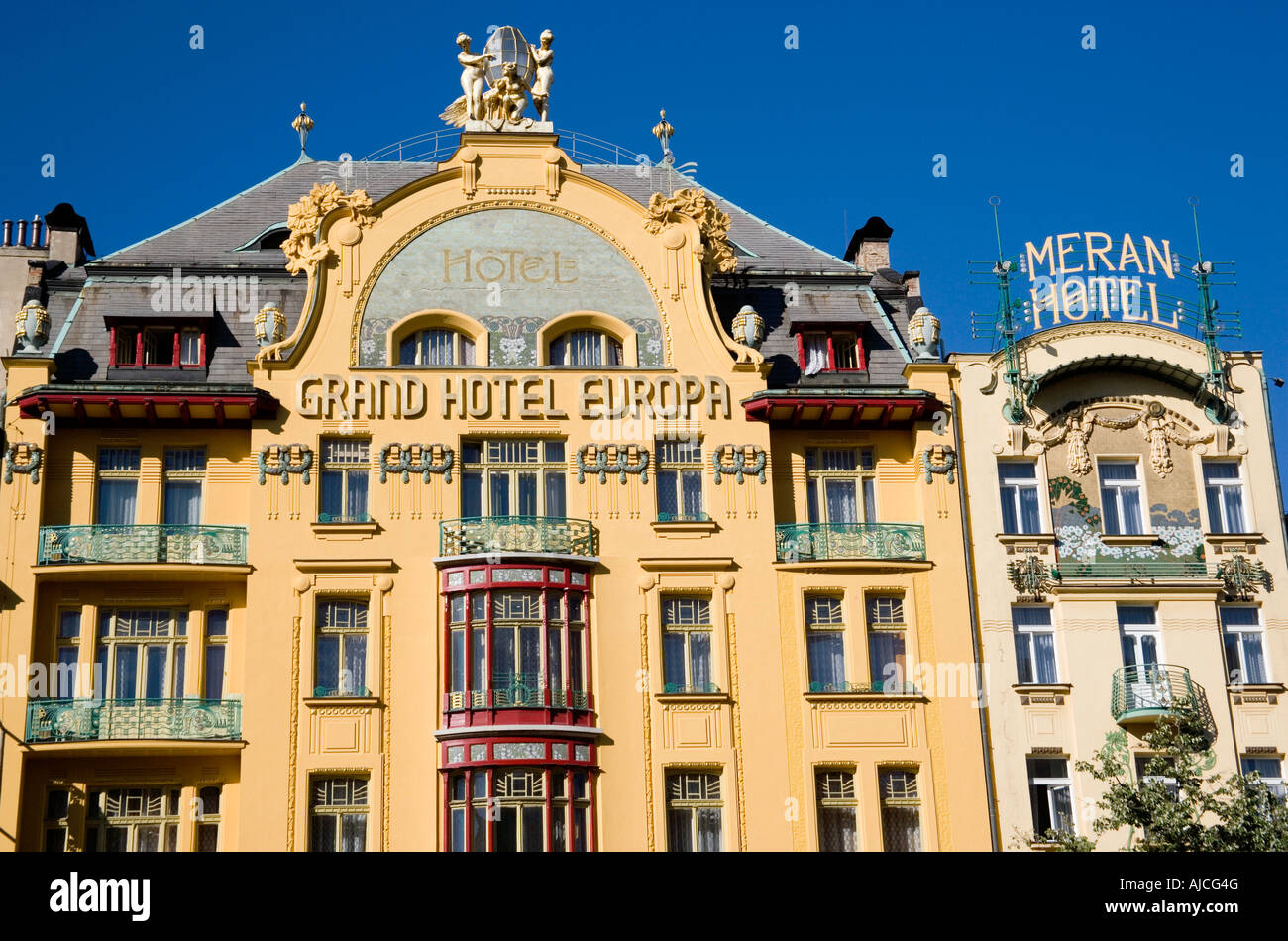 czech republic czechia bohemia prague the art nouveau grand hotel stock photo royalty free. Black Bedroom Furniture Sets. Home Design Ideas