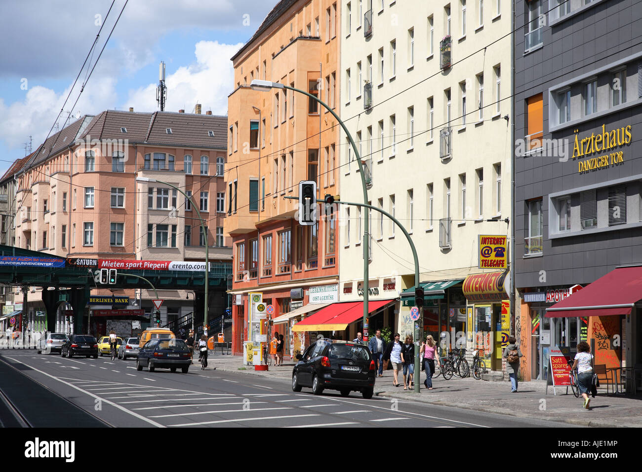 berlin danziger strasse str street prenzlauer berg weissensee stock photo 14708421 alamy. Black Bedroom Furniture Sets. Home Design Ideas