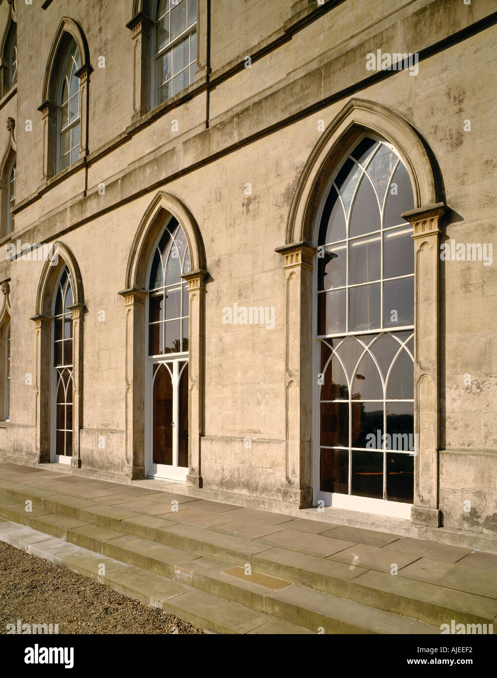 View Of The Gothic Revival Windows In North East Front House At Castle Ward County Down Northern Ireland