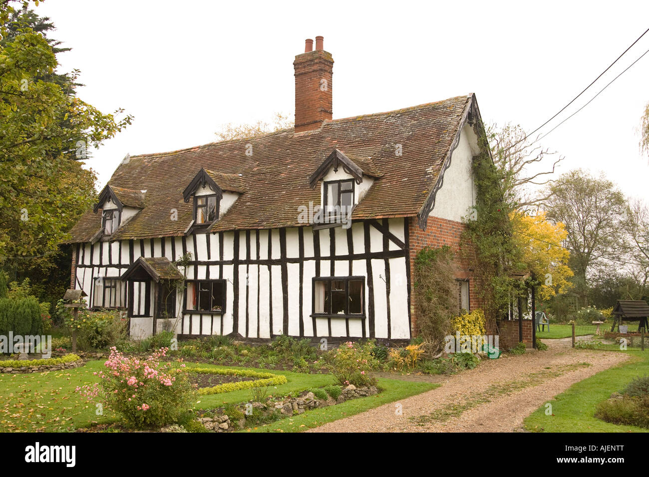 An Old Tudor Style Timber Framed Cottage In A Suffolk