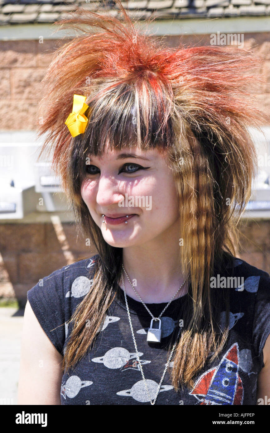 Teenage girl with a punk rock hair style and lip ring stock photo stock photo teenage girl with a punk rock hair style and lip ring urmus Image collections