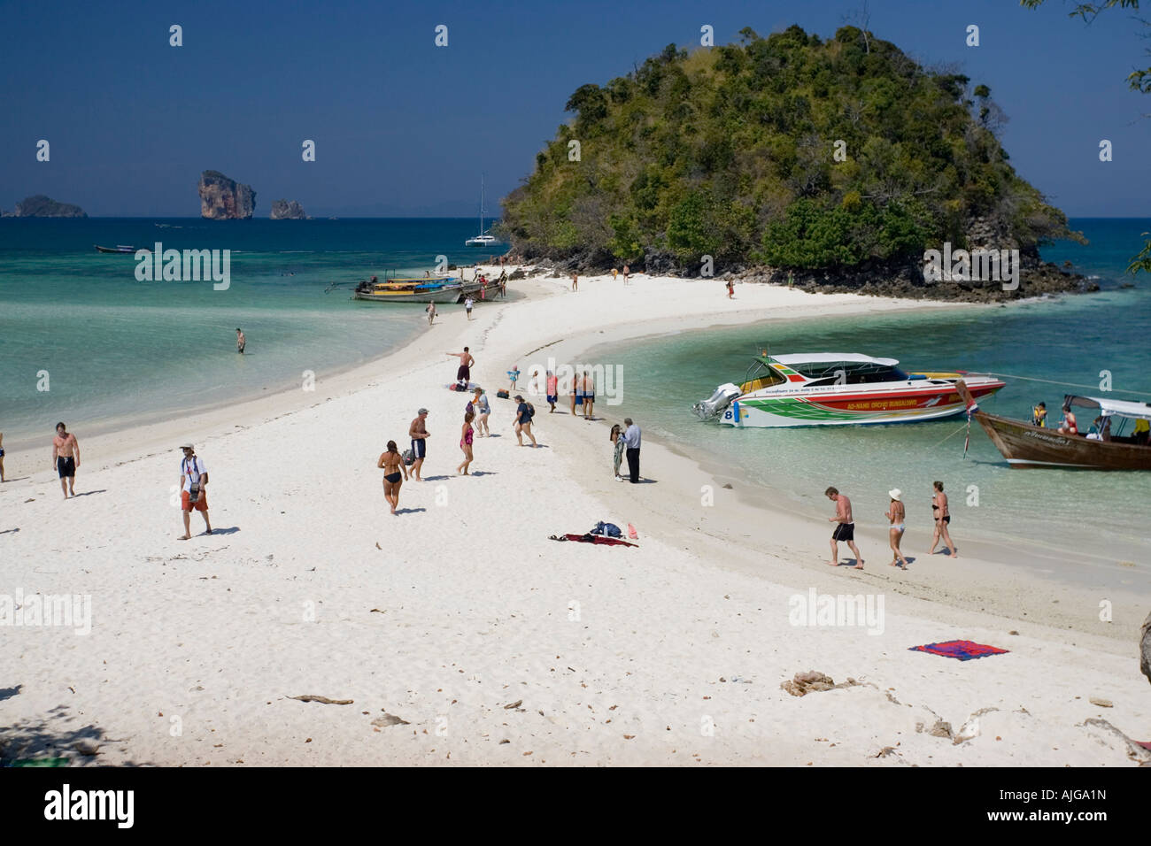 Visitors on the white sand beach Ko Tup island off Ao Nang Thailand Stock Pho...