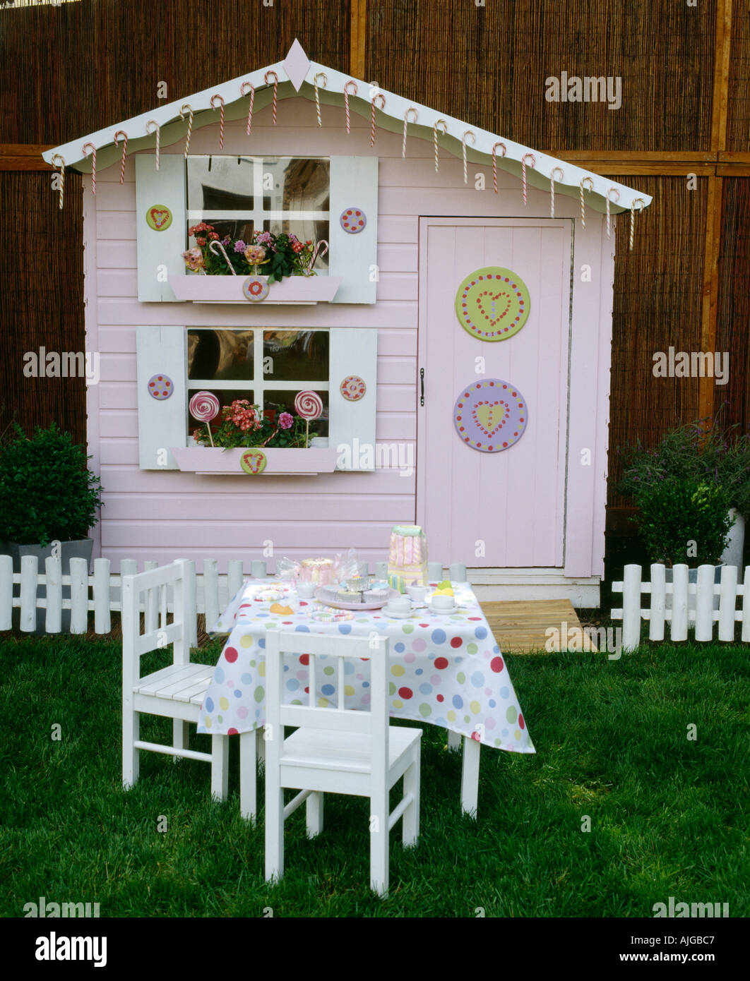 Children S Wendy House In Garden With Table And Chairs And