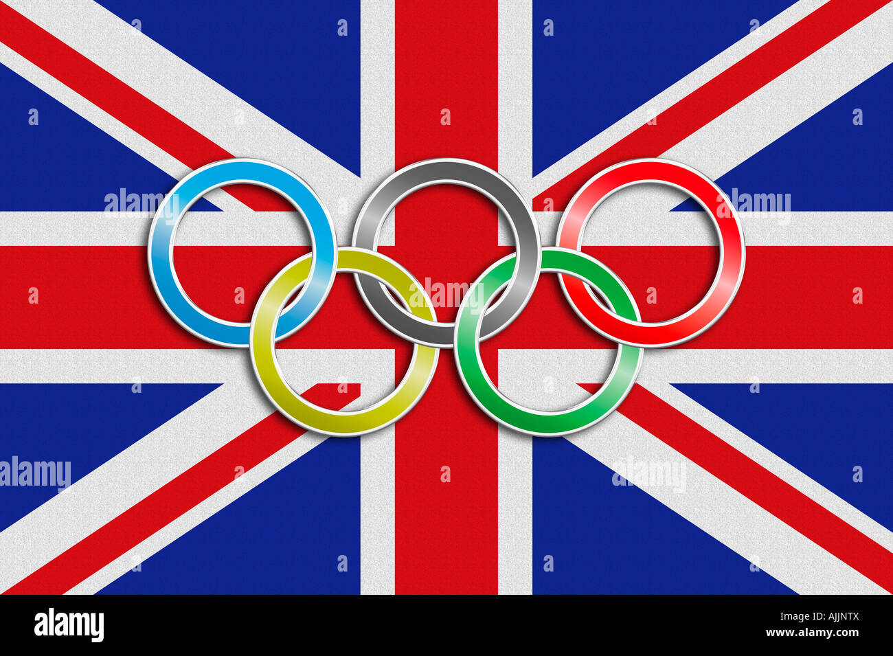 Flag of the United Kingdom of Great Britain with olympic symbol ...