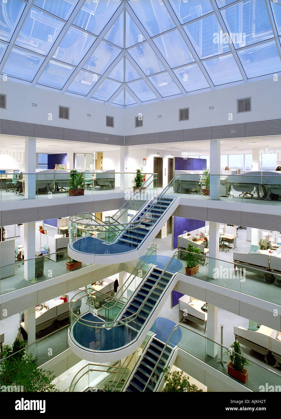 An Internal View Of An Atrium And Offices In A Modern