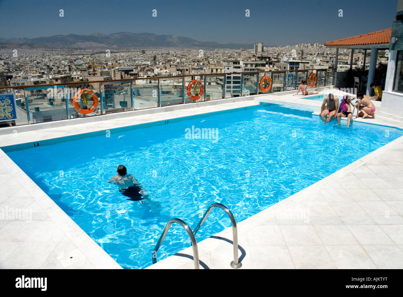 Rooftop Swimming Pool With Views Of Athens Dorian Inn Hotel Athens Stock Photo Royalty Free