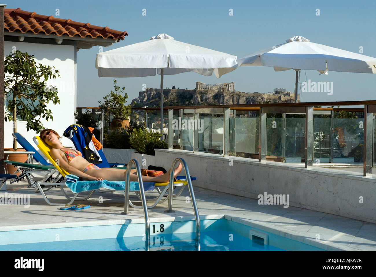 Rooftop Swimming Pool With Views Of The Acropolis And Athens Dorian Stock Photo  Royalty Free