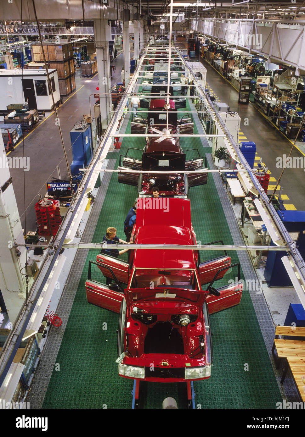 View from above trim line at Volvo Torslanda Plant near Goteborg or Stock Photo, Royalty Free ...