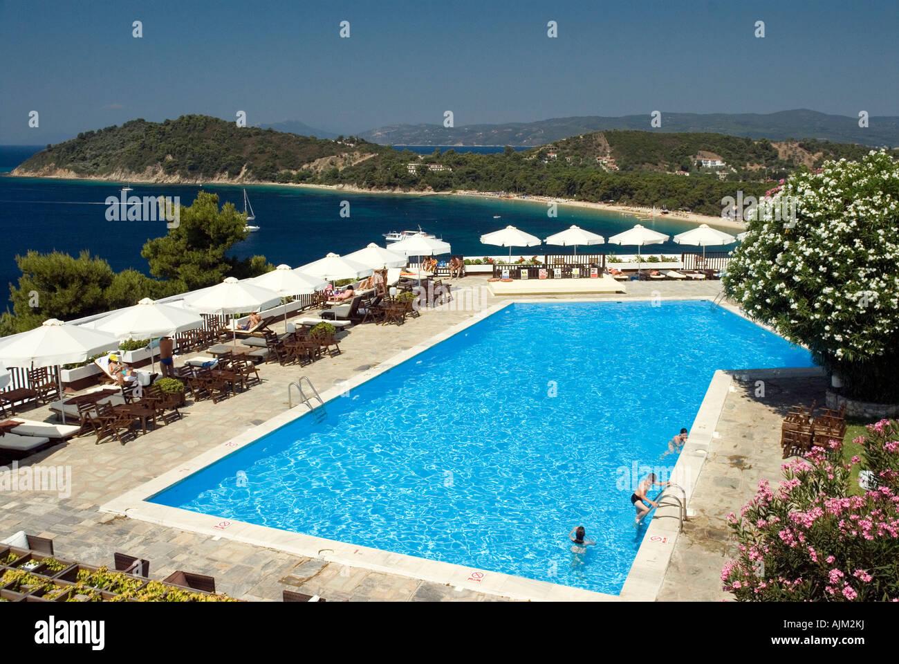 Swimming pool at skiathos palace hotel overlooking for Skiathos hotel