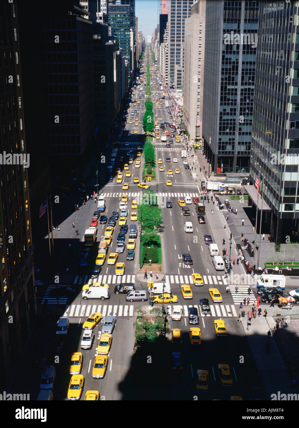 Aerial View Of Park Avenue New York City Stock Photo