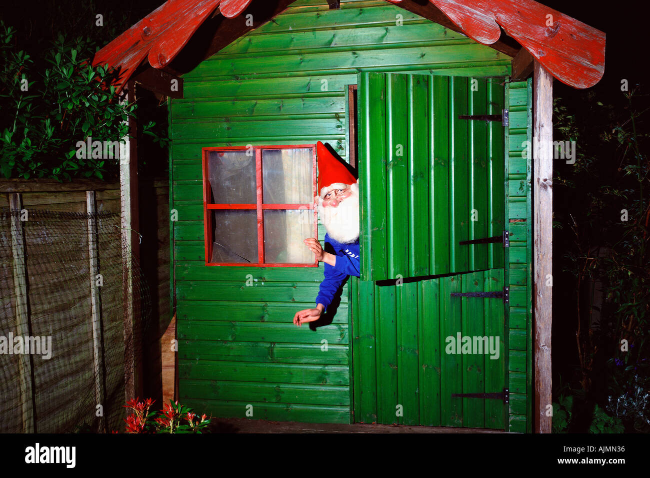 garden gnome inside shed