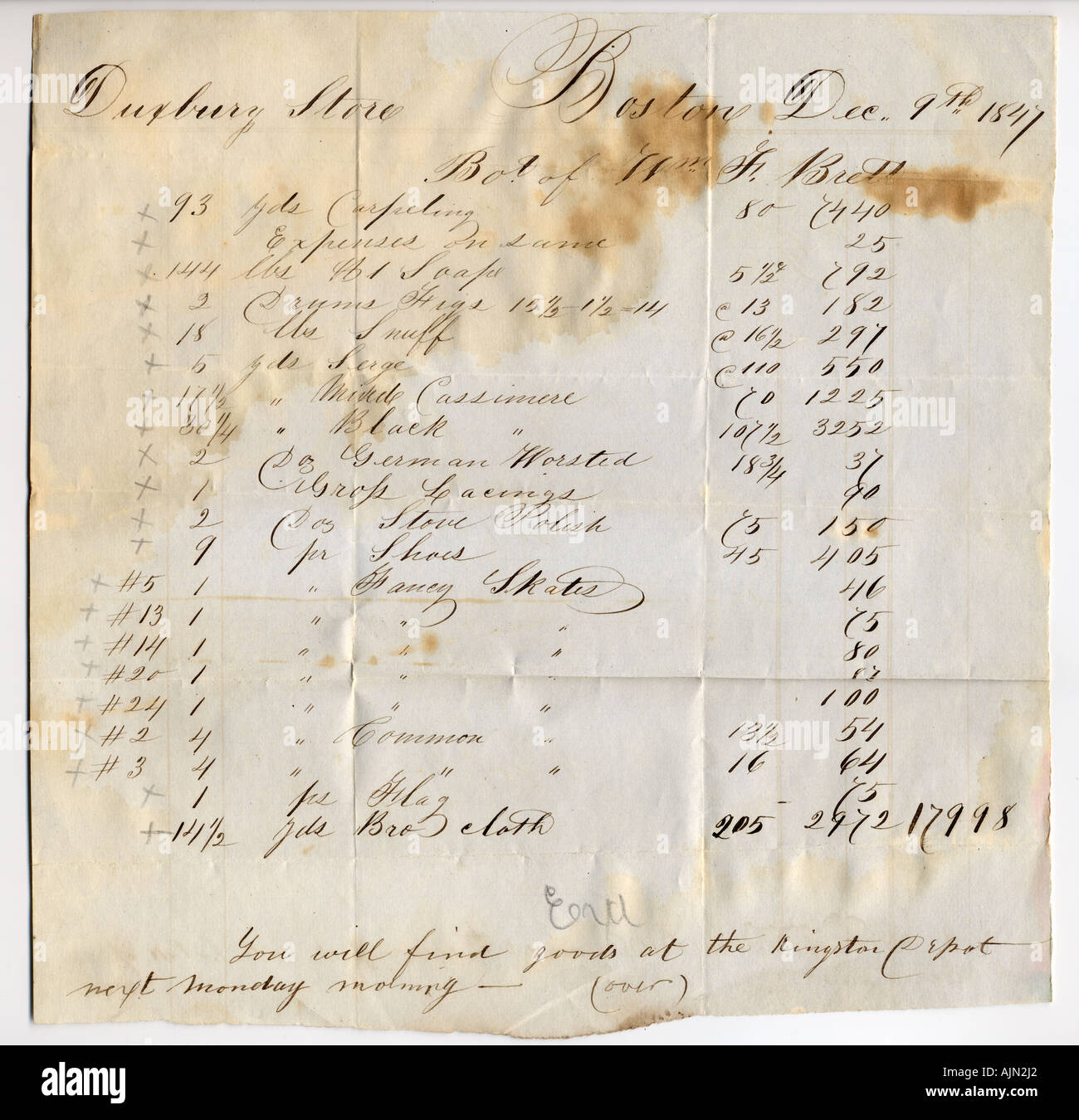 1847 Receipt For Goods From The Duxbury Store To William F Brett – Receipt for Goods