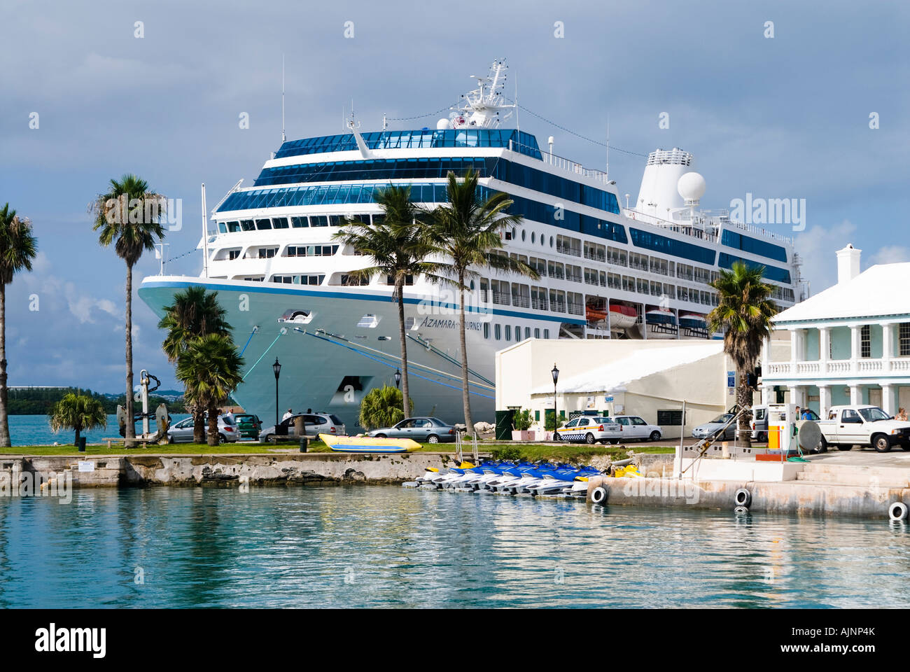 celebrity cruise ship docked in st george bermuda stock photo