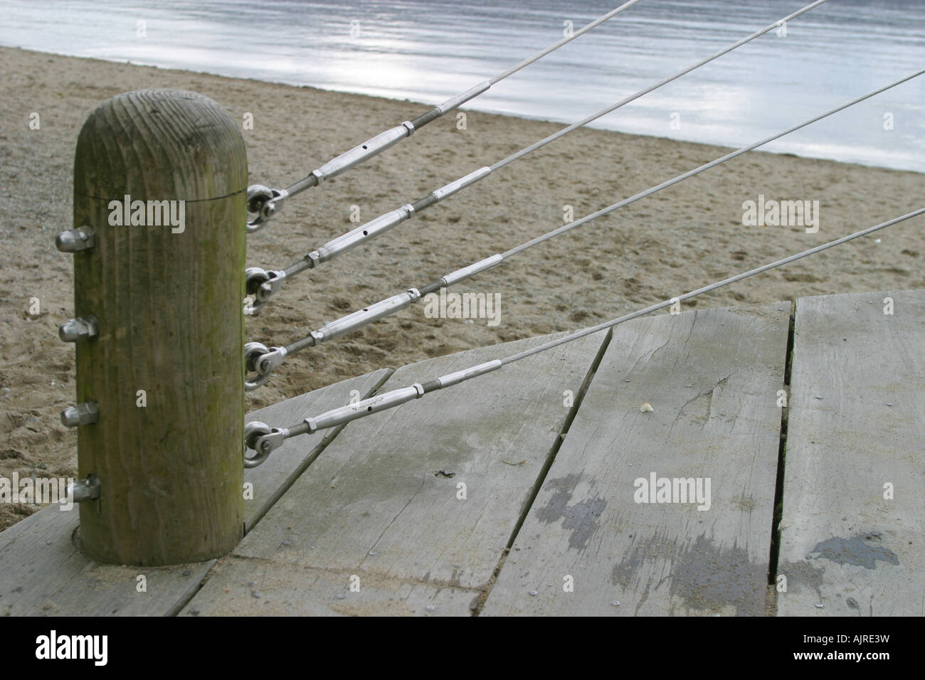 Tension Wire Fence And Wooden Post Stock Photo Royalty