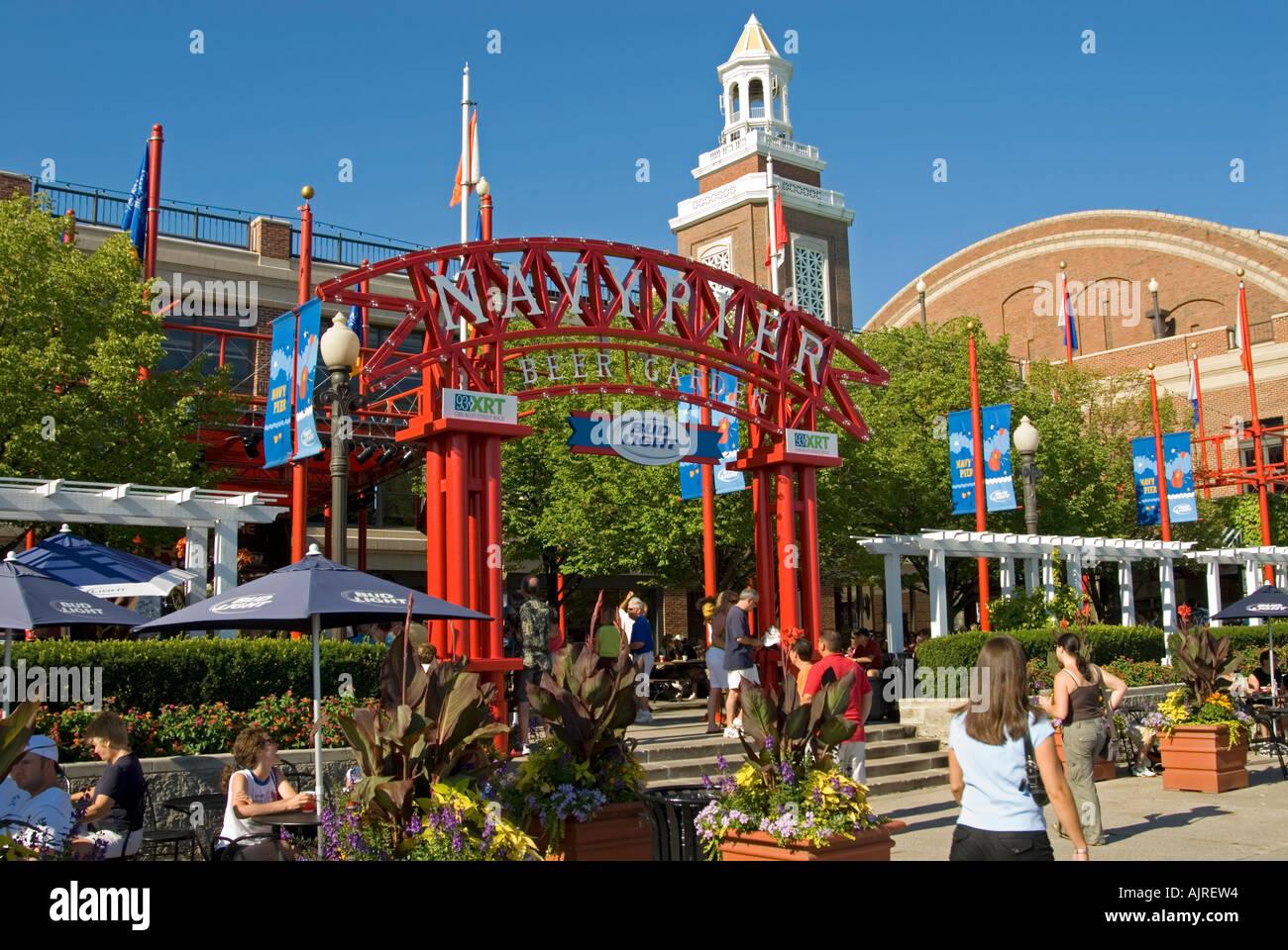 navy pier beer garden chicago illinois usa stock photo 8455699 alamy