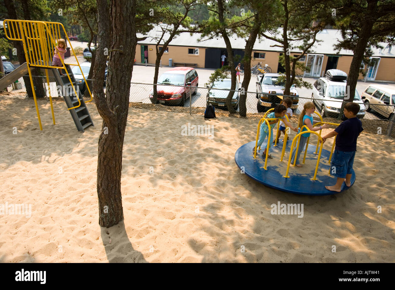 Kids Play At The Playground At The North Of Highland