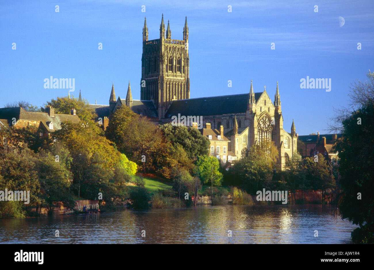 worcester cathedral and river severn in evening light with. Black Bedroom Furniture Sets. Home Design Ideas