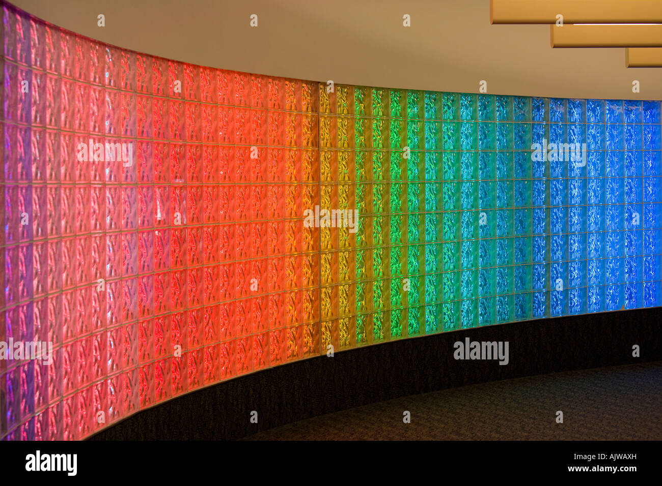 Curved glass block brick wall with colored fluorescent for Curved glass wall