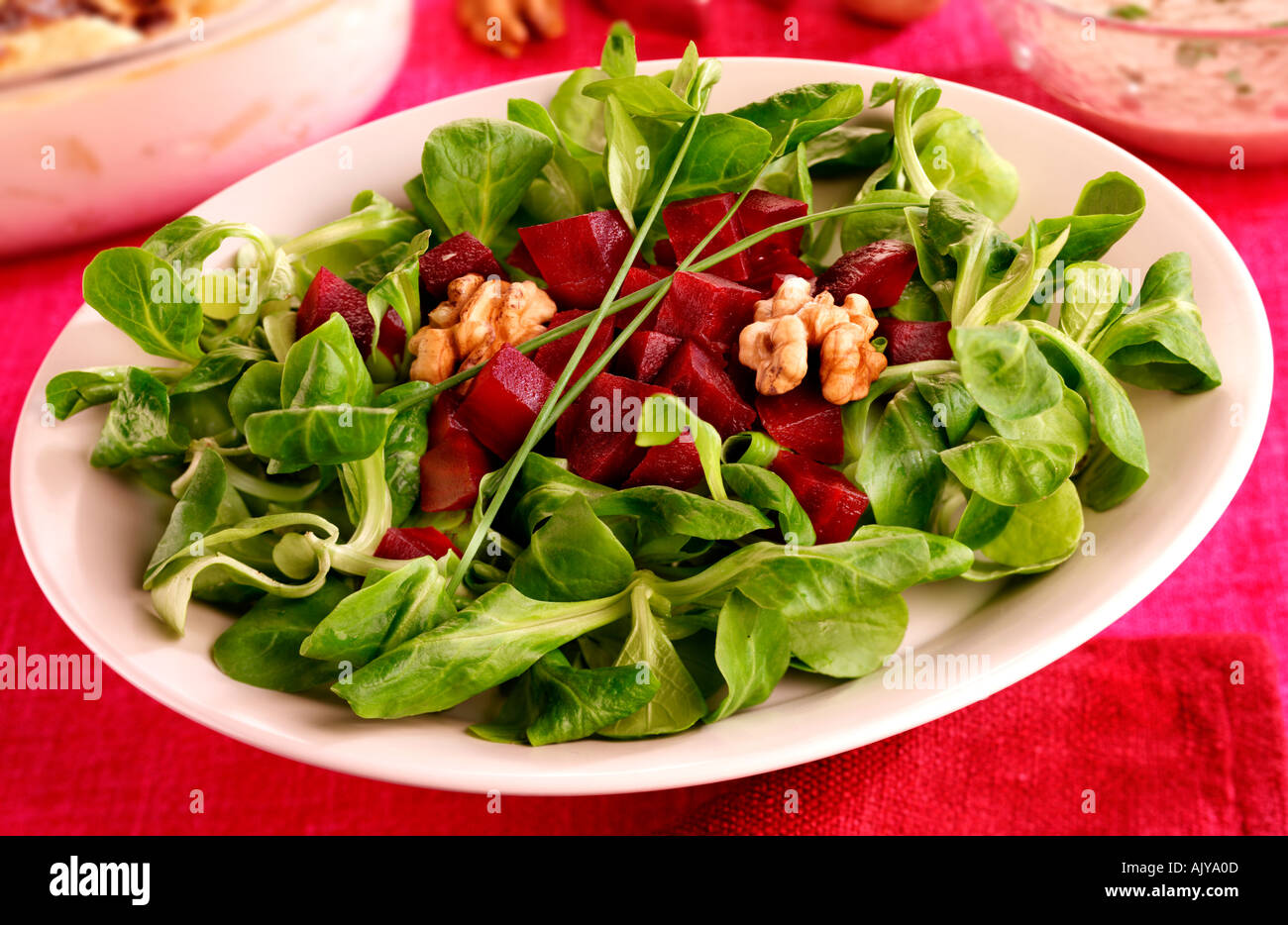 Lambs Lettuce And Beetroot Salad Stock Photo, Royalty Free Image ...