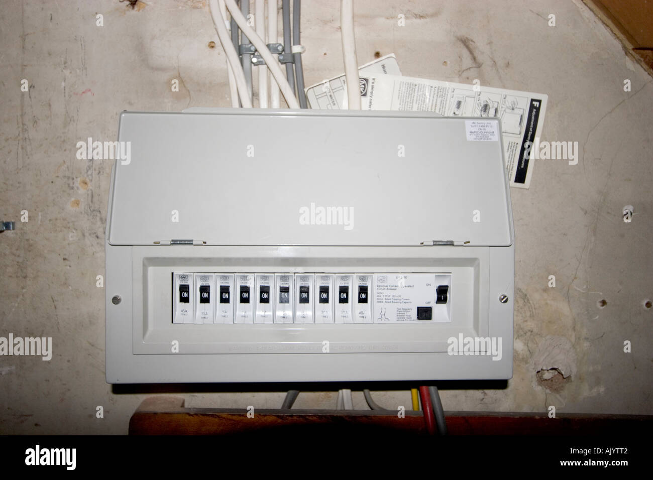 uk electrical fuse box under stairs of house AJYTT2 uk electrical fuse box under stairs of house stock photo, royalty fuse box in house at fashall.co