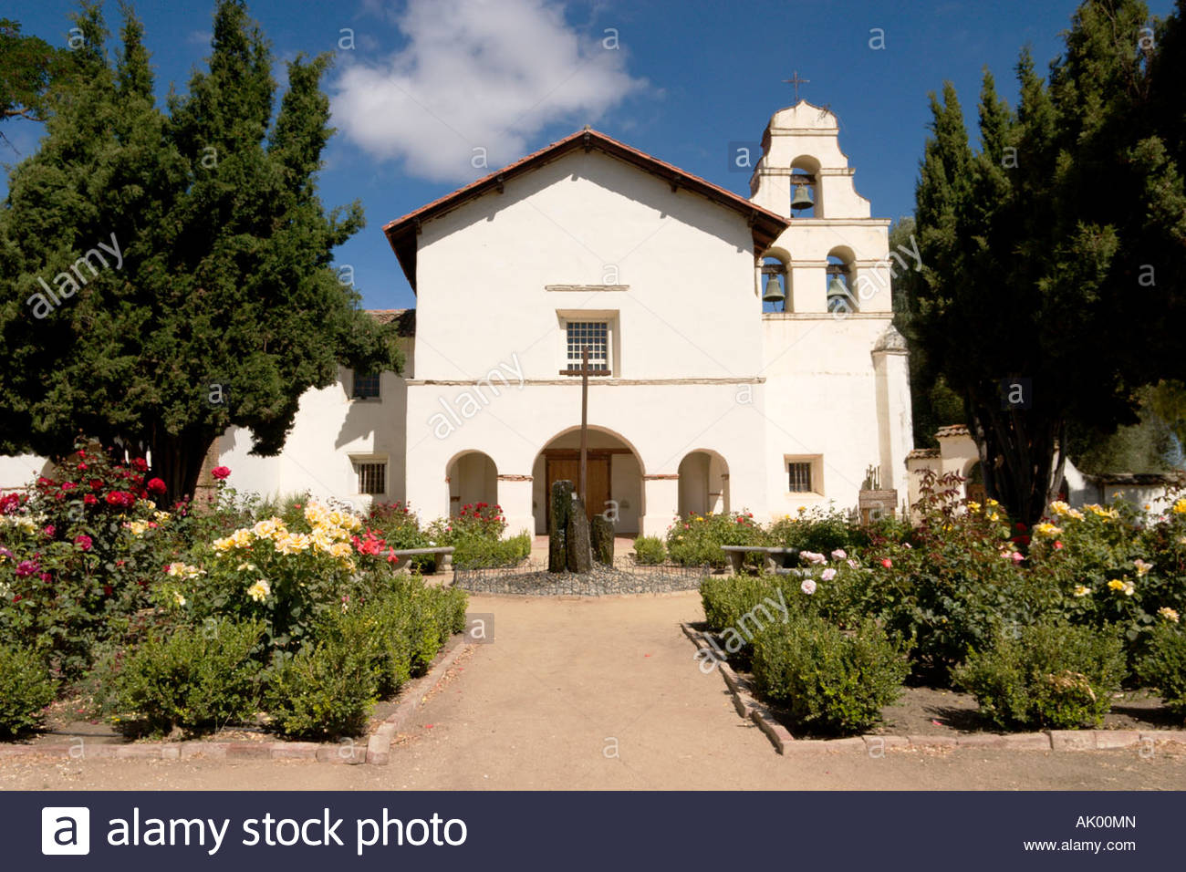 Garden Courtyard And Chapel Mission San Juan Bautista
