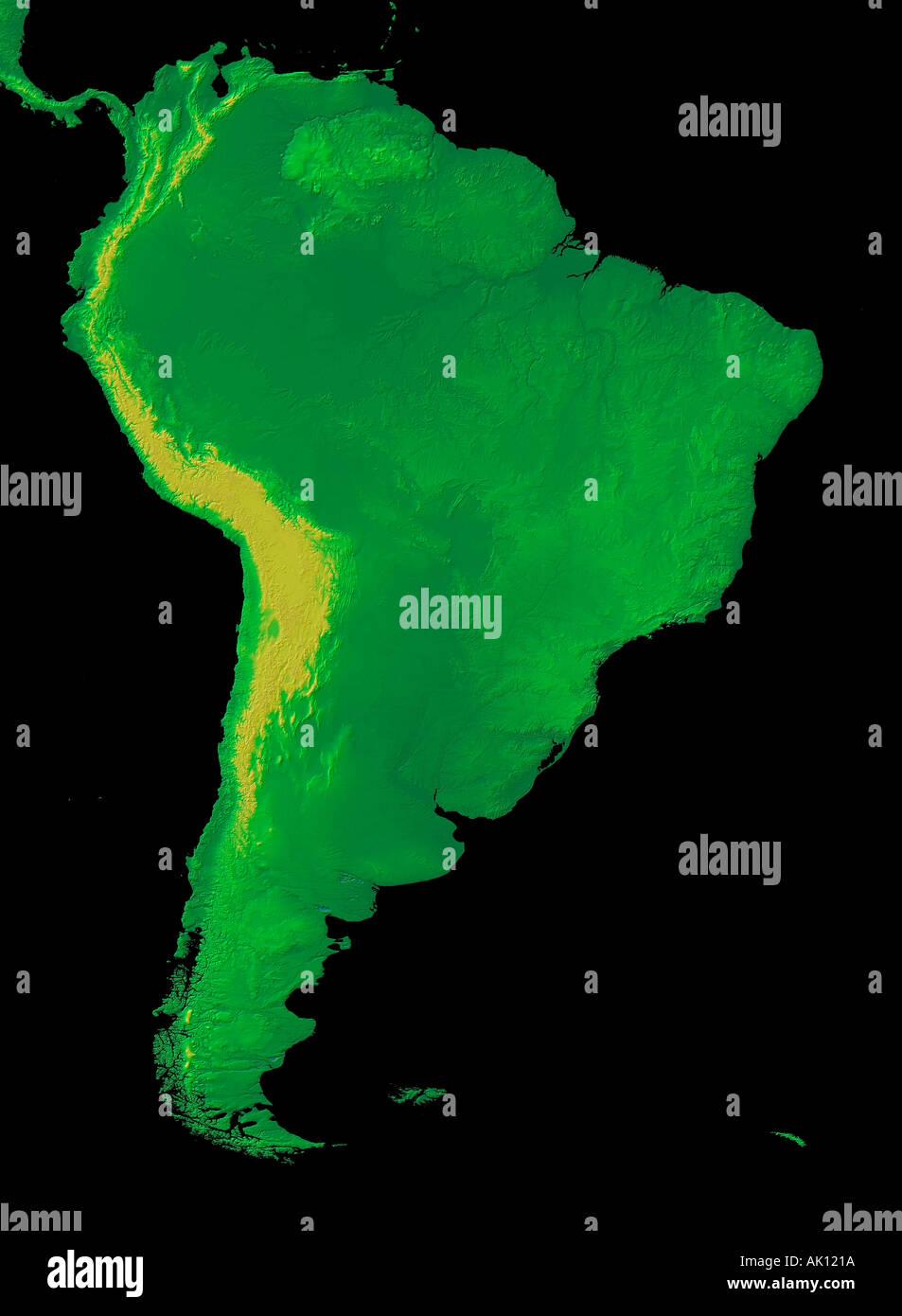 Digital Elevation Map Of South America Earth From Space Stock - Digital elevation map of the world