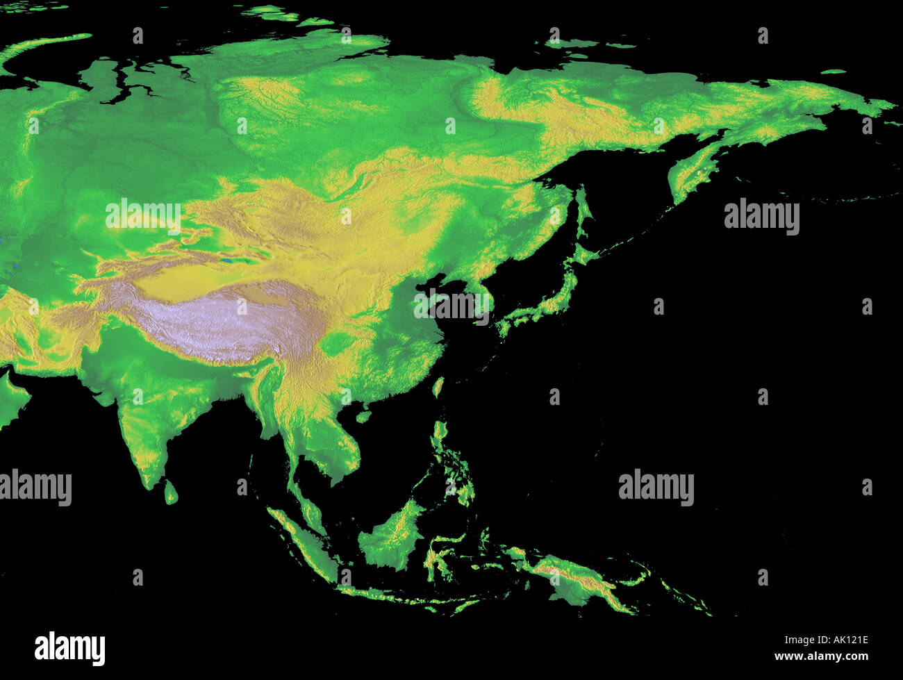 Digital Elevation Map Of Asia Earth From Space Stock Photo - Digital elevation map of the world