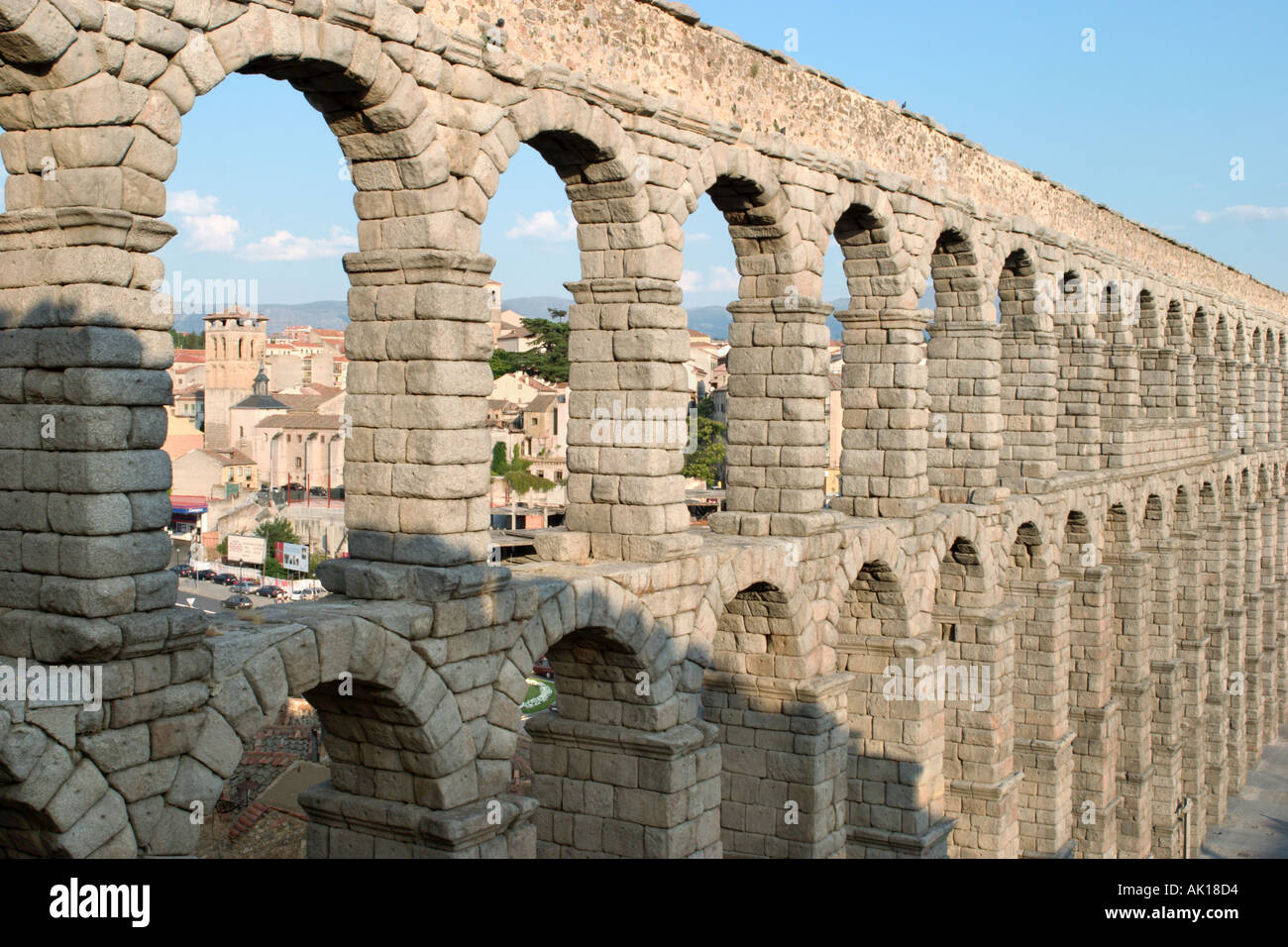 roman aqueduct segovia castilla y leon spain stock photo