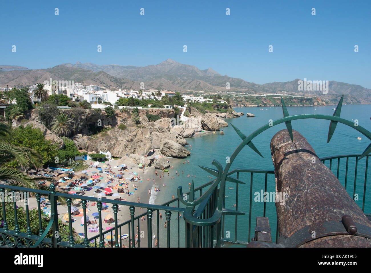 view from the balc n de europa in the old town nerja costa del stock photo royalty free. Black Bedroom Furniture Sets. Home Design Ideas